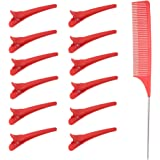 Anself 13 st Hårklippningsklämmor med kamuppsättning för frisör styling salong frisör frisyr avdelare hårfärgverktyg (röd)