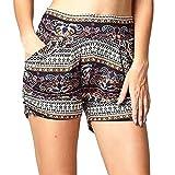 Mounter donne stampa casual fascia elastica Loose Hot Pants Lady estate spiaggia pantaloncini pantaloni, Khaki, S=UK/XS=Waist:22~24+Hip:27~32