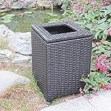 JJ Bidone per rifiuti Quadrato in Rattan e Vimini, Cestino Ecologico Porta, Usato all'aperto/Parco/Hotel/Lobby/Bagno,Small