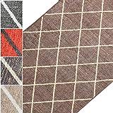 Teppichläufer Cosenza | Rauten Muster im Retro Look | viele Größen | moderner Teppich Läufer für Flur, Küche, Schlafzimmer | Niederflor Flurläufer, Küchenläufer | braun Breite 80 cm x Länge 200 cm