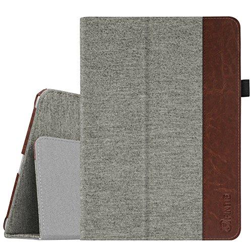 Fintie Folio Hülle für iPad 9.7 Zoll 2018 2017 / iPad Air 2 / iPad Air - [Eckenschutz] Slim Fit Stoff Schutzhülle Case mit Ständer und Auto Schlaf/Wach Funktion, Denim grau (Braune Denim-stoff)