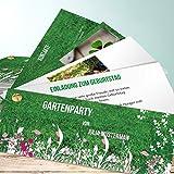Einladungen 40 Geburtstag, Gartenparty 200 Karten, Kartenfächer 210x80 inkl. weiße Umschläge, Grün