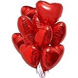 25 Palloncini a Forma di Cuore Rossi ad Elio o Aria per Decorazione Romantica, San Valentino, Anniversario Matrimonio e Fidan