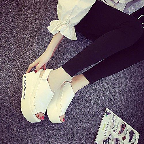 Hunpta Frauen Sandalen weibliche Keil Plattform Schuhe elegante High Heel Sandalen Weiß