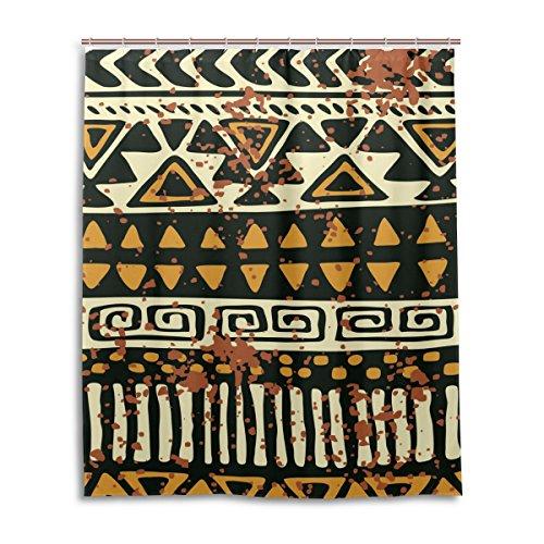 Cortina de ducha de baño 60x 72inch, Vintage étnico grano de leopardo, tela de poliéster a prueba de moho cortina de baño