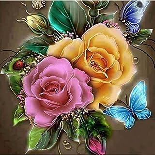 AIHOME Kreuzstich-Mosaikbild, 5D, Strassbild, Blume, Heimdekoration Vase and Flower