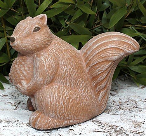 Steinfigur Eichhörnchen - Terrakotta, Deko Figur Garten Stein Frostsicher