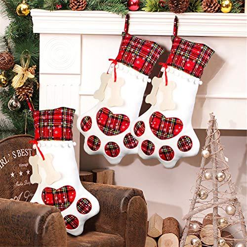 Aparty4u groß Pet Strümpfe Weihnachten Hund Katze, zum Aufhängen rot Plaid Pet Paw Weihnachtsstrumpf Personalisierte Bone Tag Hunde Katzen Weihnachtsschmuck, 45,7x 27,9cm (Hund Knochen Etikett)