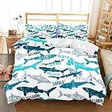 Shark Bettbezug Winter Einzelbett Doppelbett Bettbezug, komfortable dreiteilige Set 210 * 210cm