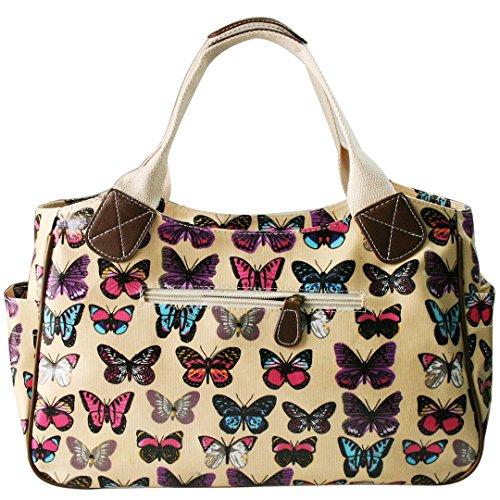 Miss Lulu Damen Wachstuch Handtasche Schultertasche Einkaufstasche Tasche Shopper Gepunktet Eule Blumen Schmetterling Schmetterling Beige