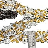 plata bordado ajuste de la cinta de artesanía floral 4,0 cm de ancho frontera sari por el patio