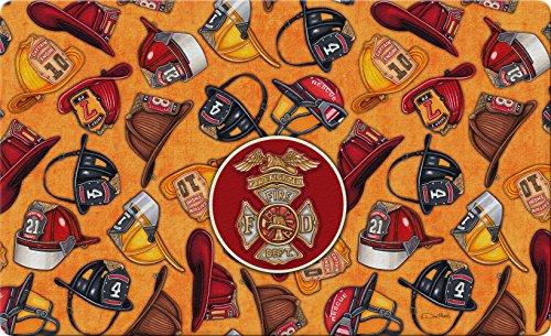 Toland Home Garden Heroes Fußmatte, 45,7 x 76,2 cm, dekorative Feuerwehr-Bodenmatte, Helm, Collage -