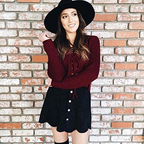 Transer ® Chemisier Femme,Sexy femmes manches longues Pull en maille tricot à encolure en V en vrac court Pull Casual Rouge/Noir Rouge