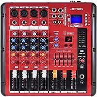 Ammoon Bluetooth Numérique 4 Canaux Ligne Audio Mixer Mic Table de Mixage 2 Catégories D'égalisation avec 48 V Alimentation Phantom Interface USB Enregistreur Étape Karaoké pour DJ