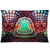 Warm Farbe Abstrakt Psychedelic Alex grau Trippy Art Muster Werfen Kissenbezug Fall Reißverschluss Kissen Cover Home Sofa Deko 50,8x 76,2cm Zoll (Zwei Seiten)