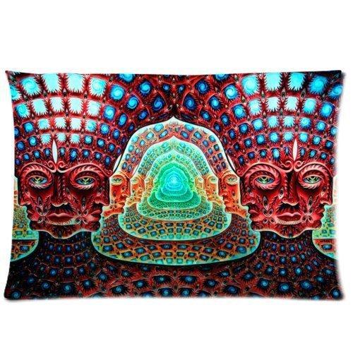 Warm Farbe Abstrakt Psychedelic Alex grau Trippy Art Muster Werfen Kissenbezug Fall Reißverschluss Kissen Cover Home Sofa Deko 50,8x 76,2cm Zoll (Zwei Seiten) (Kissen Fall Benutzerdefinierte Werfen)