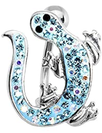Brilliant Blue Izzy Lizzy Curvaceous Lizard Belly Ring