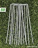 GardenPrime GALVANIZZATI 50x zincato a caldo 2.8mm Premium da giardino a forma di U picchetti di fissaggio per fissarlo pacciamante, rete, in pile, teloni, membrana paesaggio tessuto, polietilene,
