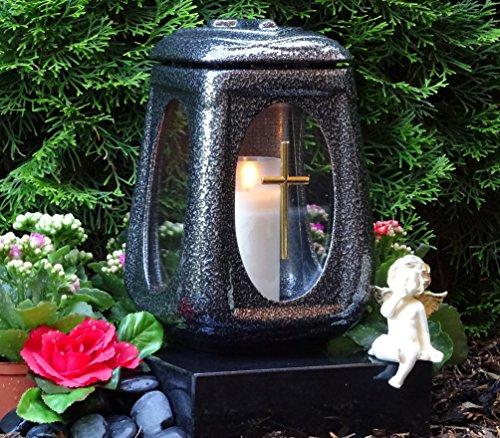 licht Keramik Silber Glas Kreuz mit Grabkerze Grablampe Grabschmuck Grableuchte Laterne Grabkerze Lampe Kerze Licht Friedhof Garten ()