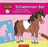 Mein kleiner Ponyhof: Schablonen-Set: 20 Motive, 8 Bögen Motivpapier und 40 Sticker