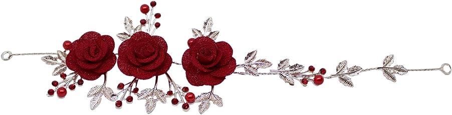 TIED RIBBONS Bridal Floral Rhinestone Crystal Tiara Wedding Hair Jewellery Headpiece for Girls, Brides, Parties, Proms, Wedding