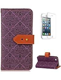 coque iphone se-5s-5 housse en cuir [avec gratuit protections d ecran],casehome attrape de reves mandala fleur