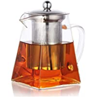 PluieSoleil Square Glass Teapot with Infuser, 700 ml Borosilicate Tea Pot for Loose Tea, Clear Leaf Teapot with Strainer…