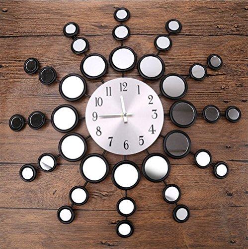 Kreative Metall Wanduhr, Wohnzimmer Schlafzimmer Digital Spiegel Uhr Sonne Form Durchmesser 48,5 Cm,Black Alarm Glockenspiel