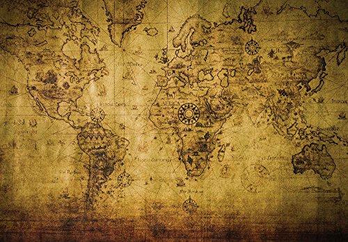 Tapeto Papel pintado fotográfico Mundo Tarjetas, viaje y Universo–Sepia Mapa del Mundo Vintage–Tamaño XS S M L XL XXL XXXL–Papel o papel, Fieltro, Sepia, 416 x 254 cm (Breite x Höhe)