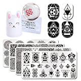 Born Pretty 4Pc Geometry Design Rectangle Nail Art Image Template Cute Rabbit 3.5cm Silicone Nail Stamper with 2 Scrapers