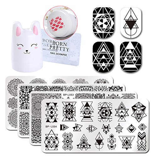 Born Pretty 4Pc Geometry Design Rectangle Nail Art Image Template Cute Rabbit 3.5cm Silicone Nail Stamper with 2 Scrapers - Konad Set Platten
