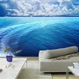 Ohcde Dheark Custom 3D Acqua Blu Murale Di Rotolo Di Carta Da Parati Onde Mare Paesaggio Di Superficie Salotto Divano Letto Camera Sfondo Tv Parete Murale Della Carta300cmX210cm
