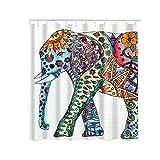 Nibesser Bunter Elefant Anti-Schimmel Duschvorhang waschbarer Textil Badewannenvorhang Digitaldruck inkl. 12 Hacken Bad Vorhang für Badezimmer Badewanne 180cmx180cm