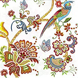 20 Servietten Embroidery Flowers - Natur als Stickerei / Vogel / Blumen 33x33cm