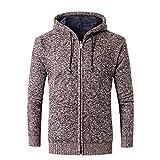 MRULIC Herbst und Winter Sweater Oberbekleidung Hoodie mit Reißverschluss Slim Pulli RH-031(Kaffee,EU-52/CN-3XL)
