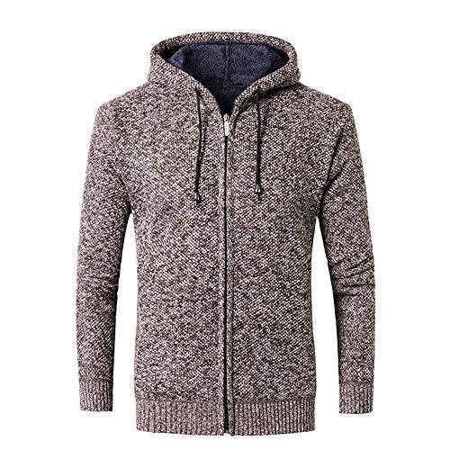 HUYURI Herren Komfort-Pullover Sherpa Gefütterter Pull Zip Fleece Hoodie Sweatshirt Mantel