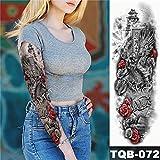 Handaxian 3pcs Adesivi Impermeabili per Tatuaggi Impermeabili per Il Tempo della Famiglia del Tatuaggio del Manicotto del Braccio Rosa Adesivi Meccanici per Uomo con Orologio Meccanico