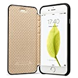 Jisoncase Handytasche im Bookstyle iPhone 6s Leder Schutzhülle für das Apple iPhone 6s Einfach und Elegant Design Schwarz Kapptasche Hülle JS-I6S-01H10