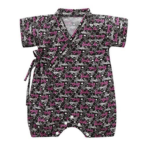 Jungen Kurzarm Floral Drucken Kimono Unisex Strampler Overall Kleidung Strampler (Schwarz,80-90cm) ()