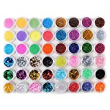 Fashion Galerie 48tlg Glitzerpuder Nail Art Glitter Pailette Hexagon Strip