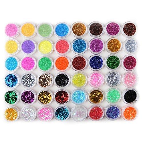 Fashion Galerie 48tlg Glitzerpuder Nail Art Glitter Pailette Hexagon Strip Nagel Kunst Acrylpulver GlitterStaub