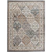 Tapiso Alfombra De Salón Oriental Colección Dubai – Color Gris Estampado Clásica Geométrico Persa – Calidad Oeko-Tex – Varias Dimensiones S-XXXL 200 x 300 cm