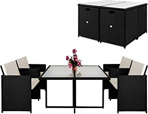 Deuba Poly Rattan Sitzgruppe Sitzgarnitur Cube Design 2+1 | 4+1 | 8+1 | 10+1