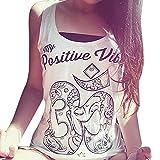 Amlaiworld Frauen im Sommer lockere ärmellos lässig Tank T-Shirt Bluse Tops Weste (M, Weiß)