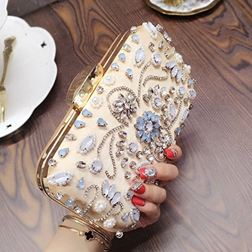 Flada Girl's and Womens Luxury Evening Clutch Oval Strass Beaded Wedding Handtasche rot gold