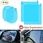 Anti Fog Film Car Rear View Mirror Waterproof Film Protective Film Anti Glare Rain-Proof Anti Water Mist, HD Nano Film...