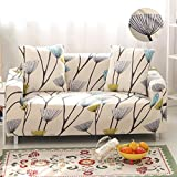 FORCHEER Sofabezug Elastischer Sofaüberwurf Blumen-Muster Sofa Cover Stretch Hussen für Sofa/Couch in Verschiedenen Größen( 3-sitzer, 190-230cm, Muster #10 )