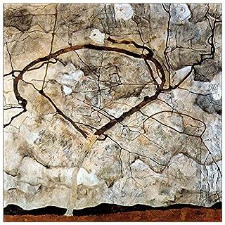 ArtPlaza Schiele Egon - Autumn Tree in The Wind, Dekorative Paneele, Holz, Mehrfarbig, 30 x 1.8 x 30 cm
