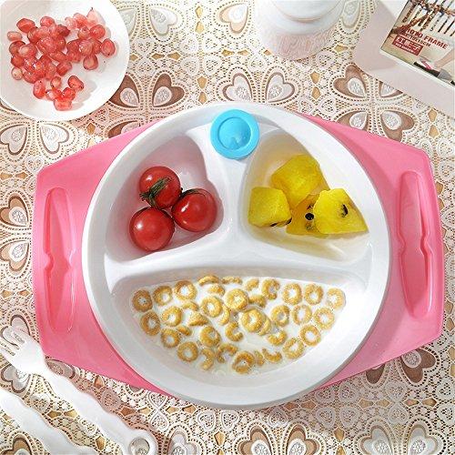 G-JJ Baby tableware Wassereinspritzung Isolator Platte Sauger anti-fallen Baby Sucker Separator Schüssel Löffel Kinder Geschirr, Rosa -