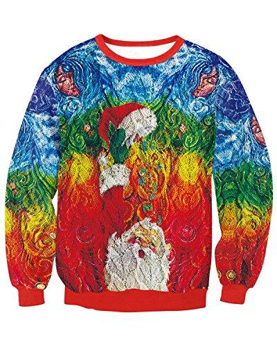 JOLIME Herren Unsiex Weihnachten Pullover Elfe Santa 3D Druck Ugly Christmas Spaß Sweatshirt B